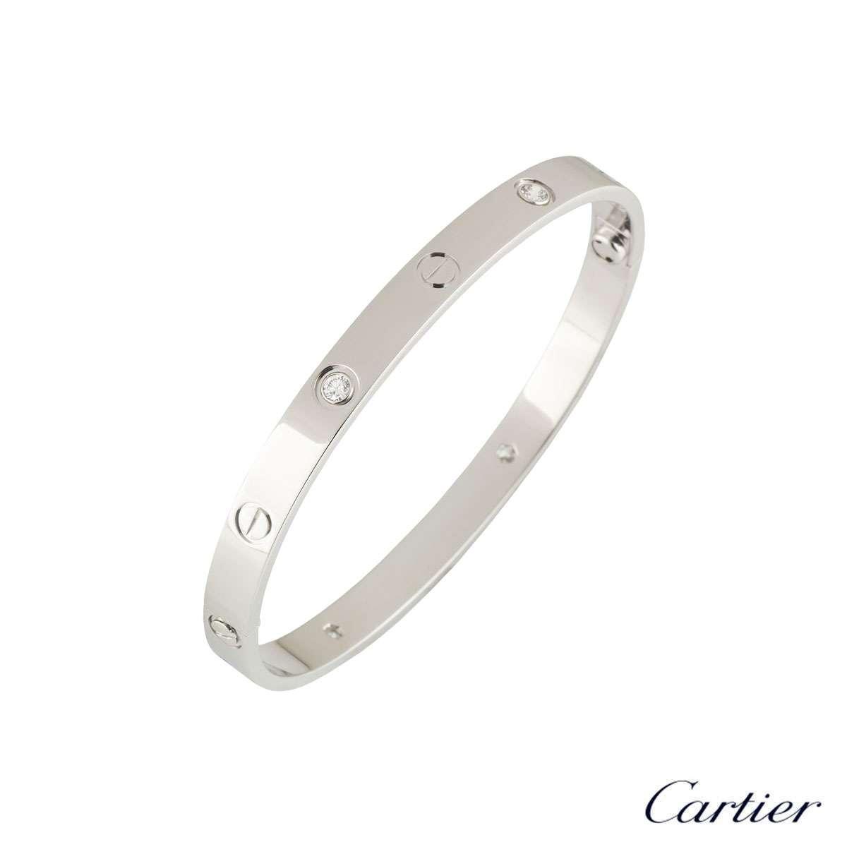 Cartier White Gold Half Diamond Love Bangle Size 16 B6035819